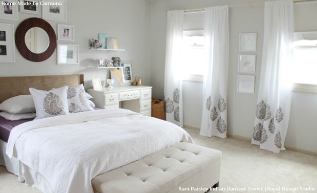 Affordable Bedroom Style, DIY Curtians, and Painted Pillows with Paisley Stencils from Royal Design Studio