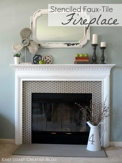 Stenciled Fireplace with the Beehive Allover Furniture Stencil by Royal Design Studio