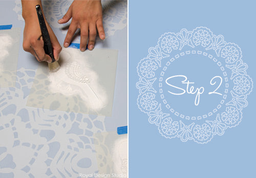 How to create adorable stenciled canvas art with Royal Design Studio lace stencils
