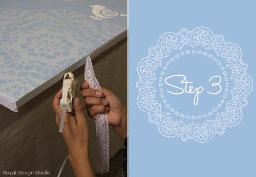 Canvas stencil project using Chalk Paint® and lace stencils from Royal Design Studio