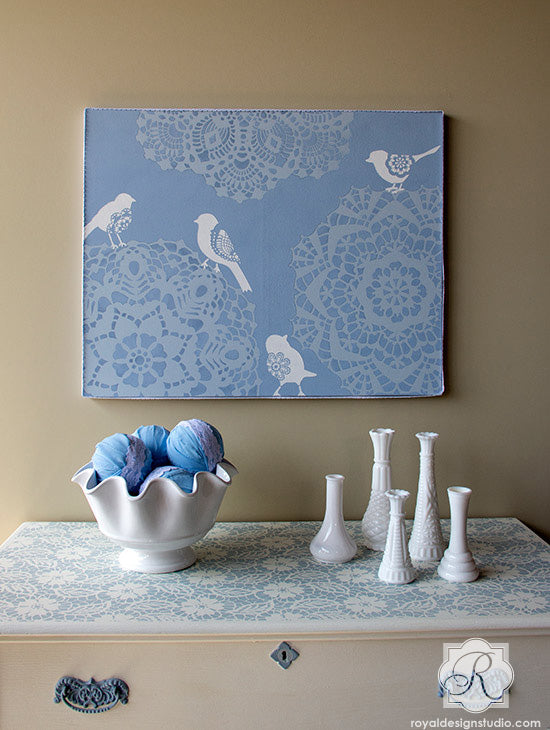 Lovely lace stencil project using Chalk Paint® and stencils from Royal Design Studio