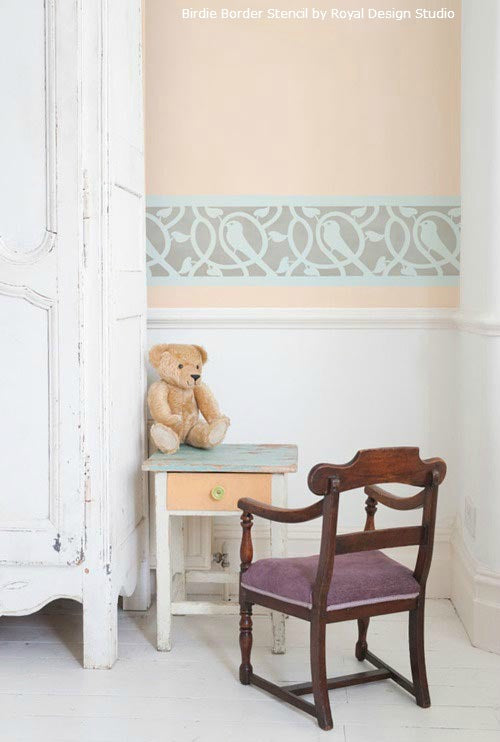 Using Stenciled Borders in a Nursery | Birdie Border Stencil | Royal Design Studio