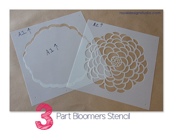 Zinnia flower stencils sets-Bloomers from Royal Design Studio stencils come in 3 layers to maximum color and pattern combinations
