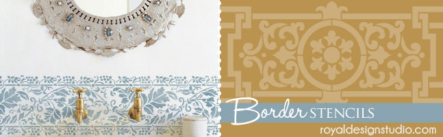 Border Wall Stencils, Wall Border Stencils, Stenciled Borders, Faux Border - Royal Design Studio Stencils