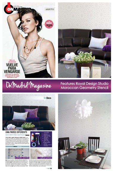 Moroccan Geometry Stencil featured in Spanish magazine On Madrid Project by Casa Haus Royal Design Studio