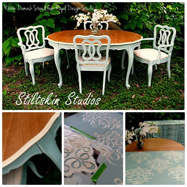 Stenciled Dining room furniture with Chalk Paint