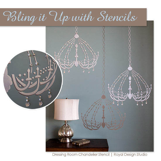 Embellishing a chandelier wall stencil with self-adhesive glass beads. Fun, easy way to add some bling to your stencils. Dressing Room Chandelier stencil | Royal Design Studio