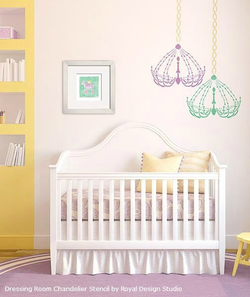 Stenciled Chandelier for Nursery or Girls Room | Dressing Room Chandelier Stencil by Royal Design Studio