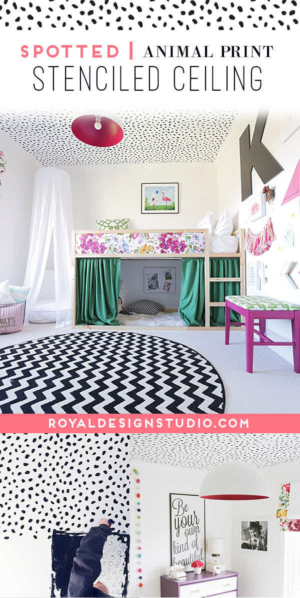 Spotted: Cute Girls Room Decor Idea with Animal Print Ceiling Stencils from Royal Design Studio
