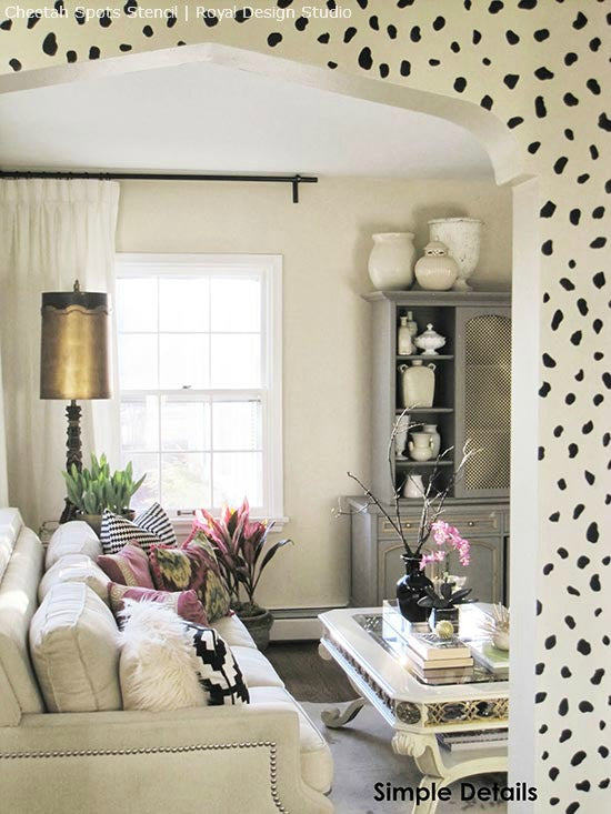 Create a Welcoming Entry with Stencils | Cheetah Spots Stencil | Project by Simple Details