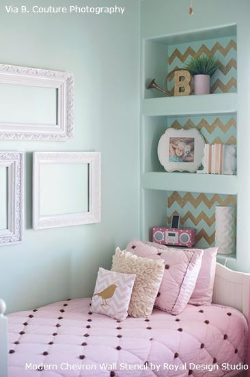 Using Chevron Stencils for Walls, Insets and Bookshelves | Royal Design Studio