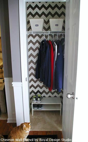 Chevron Stencil Pattern on Closet Walls | Royal Desig Studio