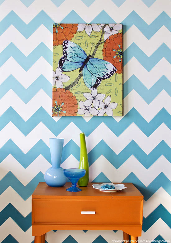 Ombre Chevron stripe pattern with paint and a Chevron wall stencil