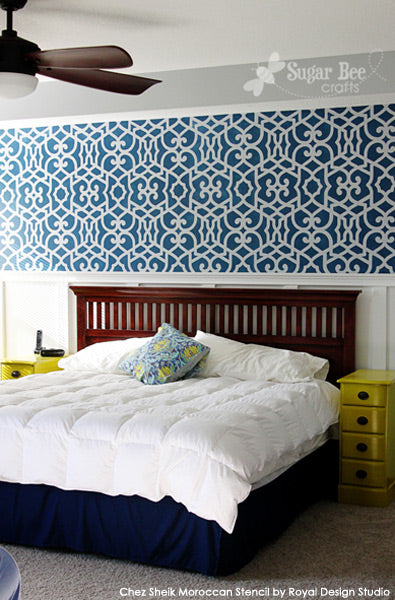 Chez Sheik Stencil from Royal Design Studios on Feature Wall | Project by Sugar Bee Crafts