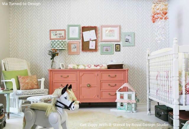 Contemporary Stenciled Nursery with the Get Ziggy With It Stencil from Royal Design Studio | Design by Genevieve March of Turned to Design