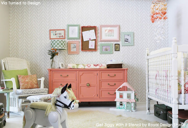 Contemporary Stenciled Nursery | Get Ziggy With It Stencil by Royal Design Studio | Project by Turned to Design