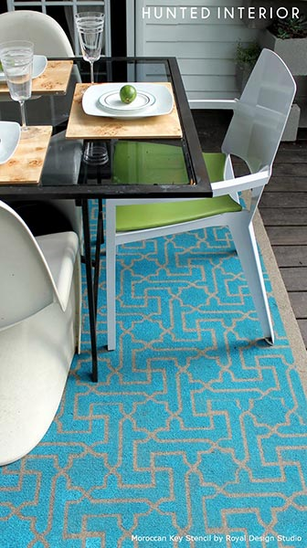Stenciled Contemporary Outdoor Rug | Moroccan Key Stencil from Royal Design Studio | Project by The Hunted Interior