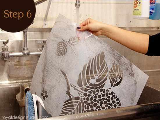 How to clean a stencil after stenciling with Royal Stencil Size