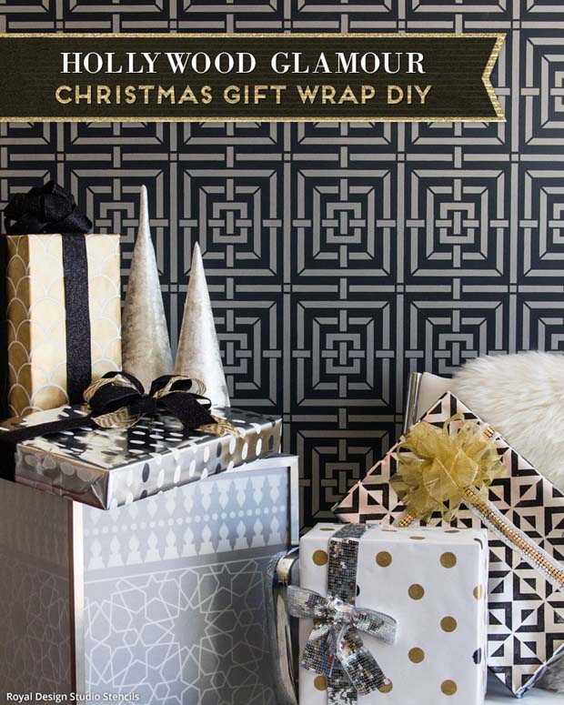 Holiday Stencil Tutorial Diy Wrapping Paper Project And Ideas