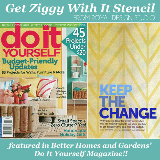 DIY Magazine Features Get Ziggy With It Wall Stencil | Royal Design Studio