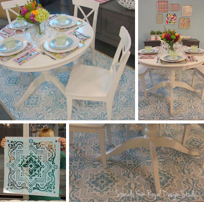 how to stencil a rug with a floor tile stencil