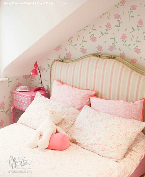 Using Stencils and the Color Pink to Brighten a Room | Royal Design Studio