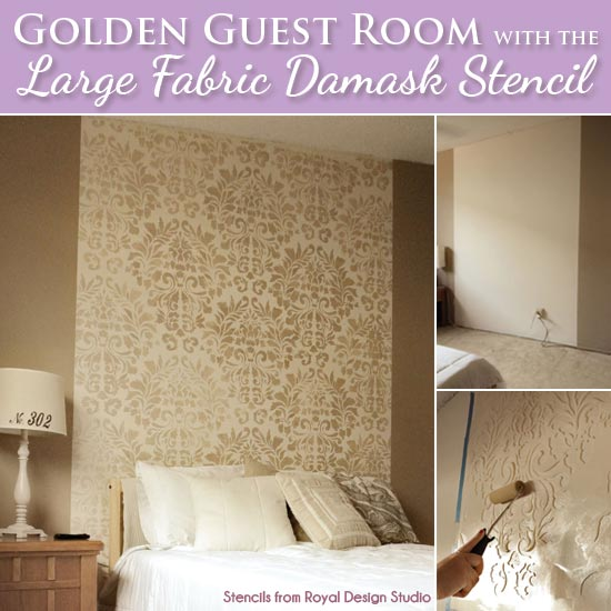 Decorating a Guest Bedroom with Stencils | Large Fabric Damask Stencil by Royal Design Studio