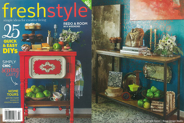 Pretty Damask stenciled feature wall in Fresh Style Magazine. Fabric Damask stencil from Royal Design Studio