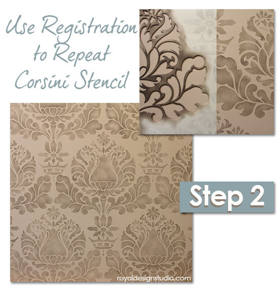 Stencil How-to: Repeating  allover Corsini Damask stencil from Royal Design Studio