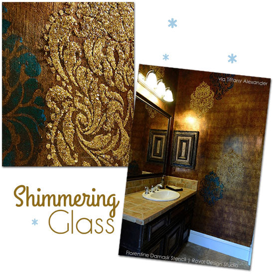 Add glass beads through stencils for a glamourous wall treatment. Damask stencil from Royal Design Studio