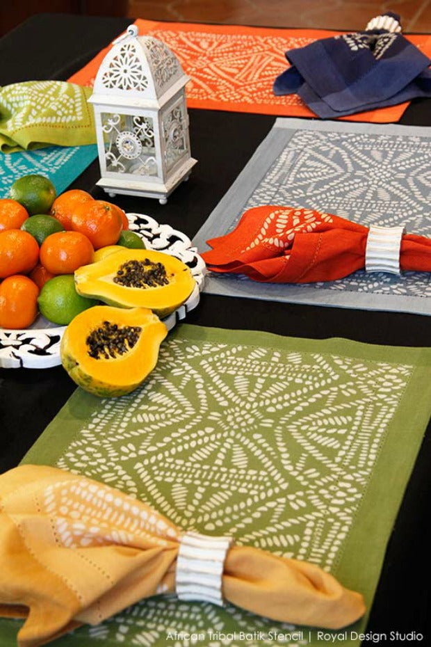9 Decorating Ideas using Trendy Tribal Batik Stencils from Royal Design Studio (Wallpaper Wall Stencils, Painted Furniture Stencils, Craft Project Stencils)