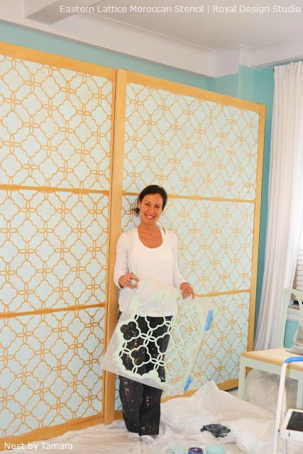 Transforming an IKEA Armoire with Stencils | Eastern Lattice Moroccan Stencil by Royal Design Studio