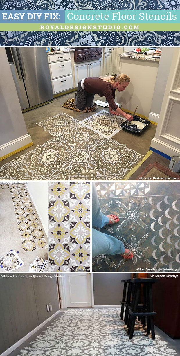 Easy DIY Fix: Concrete Floor Stencils for Painting and ...