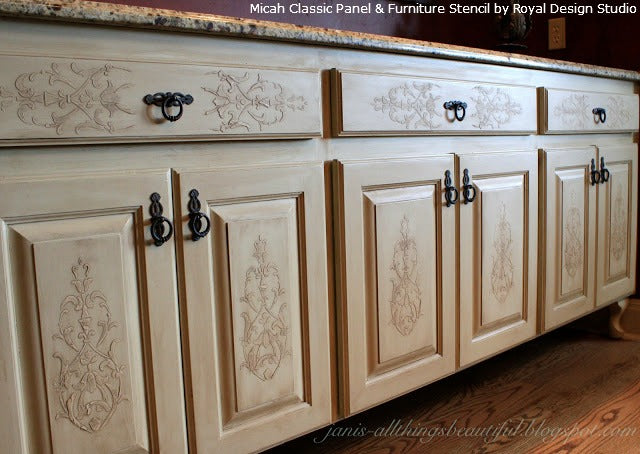 Embossed Stencil on Cabinet Doors | Royal Design Studio Stencils | Project by Janis Steward