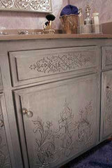 Stencil embossed bath cabinets