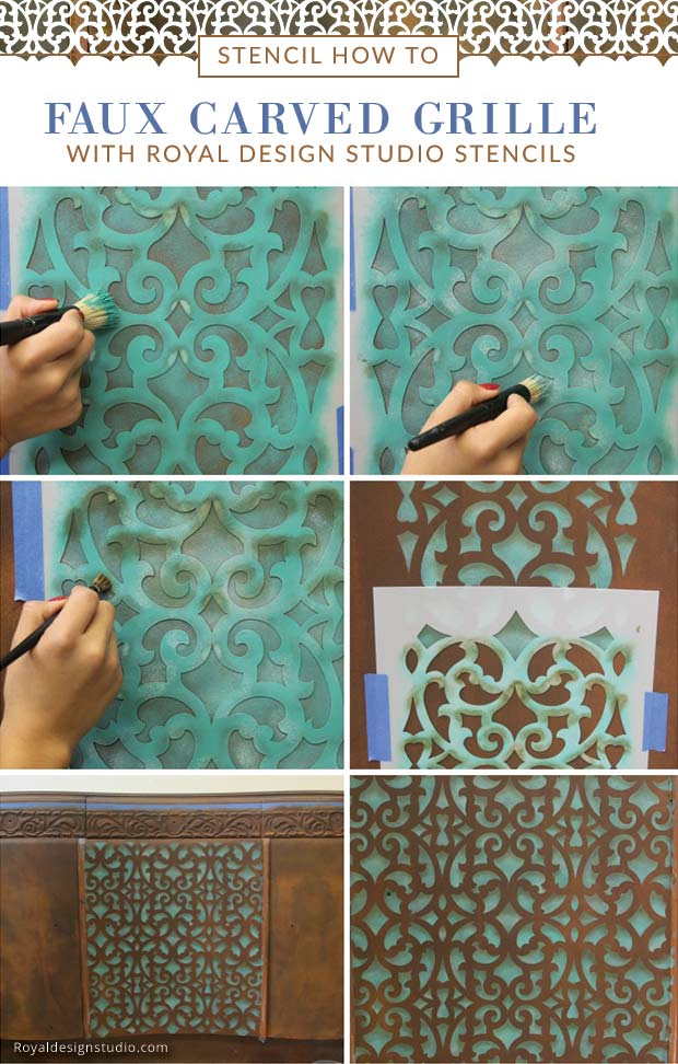 How to stencil the look of a faux carved grill with stenciling shading and the Mansion House Grille furniture trellis stencil from Royal Design Studio