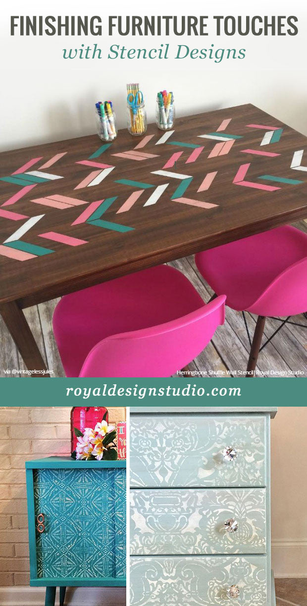 DIY Decor Painting Ideas - Finishing Furniture Touches with Stencil Designs - Royal Design Studio