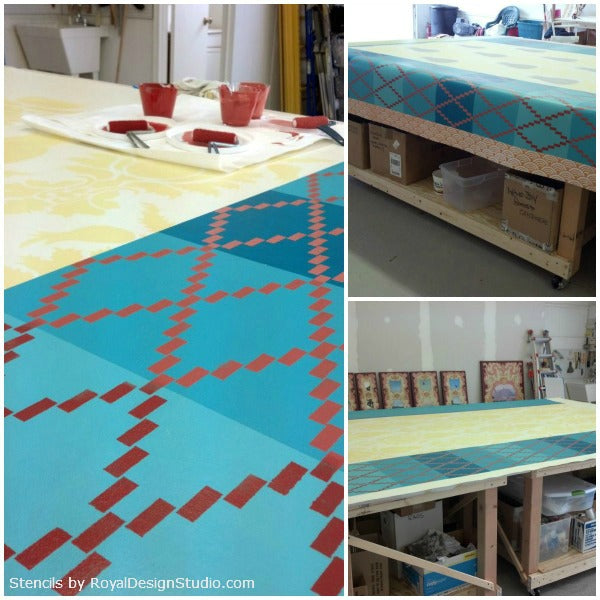 The process of stenciling a floorcloth | Royal Design Studio Stencils | Artist: Dee Cunningham
