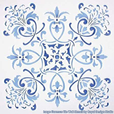 Large Florence Tile Wall Stencil by Royal Design Studio
