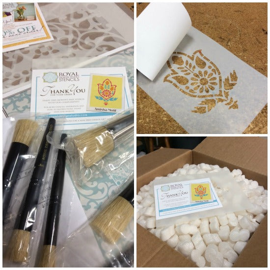 A sneak peek into the Amisha Motif stencil being packed with outgoing orders from Royal Design Studio's warehouse