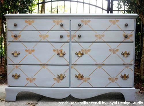 Stenciling Dresser Drawers with Royal Design Studio Stencils