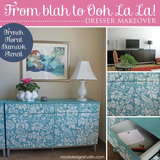 Dresser Makeover with French Floral Damask Stencil from Royal Design Studio