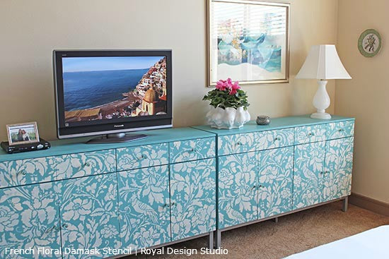 Stenciled Damask Credenza | French Floral Damask Stencil | Royal Design Studio