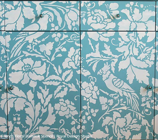 French Floral Damask Stencil on Furniture | Royal Design Studio