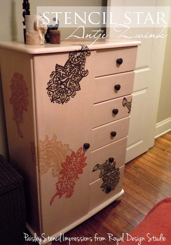stencil project on painted furniture