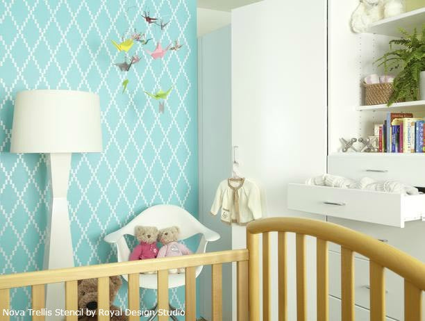 Stenciled Feature Nursery Wall | Nova Trellis Wall Stencil by Royal Design Studio | Design by Laurie March of HGTV's The House Counselor