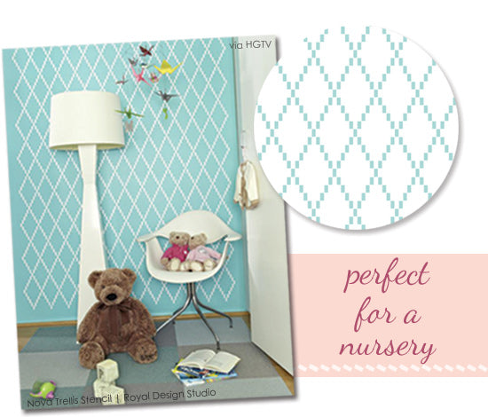 Royal Design Studio's Nova Trellis Stencil is the perfect pattern for a nursery or young child's room.