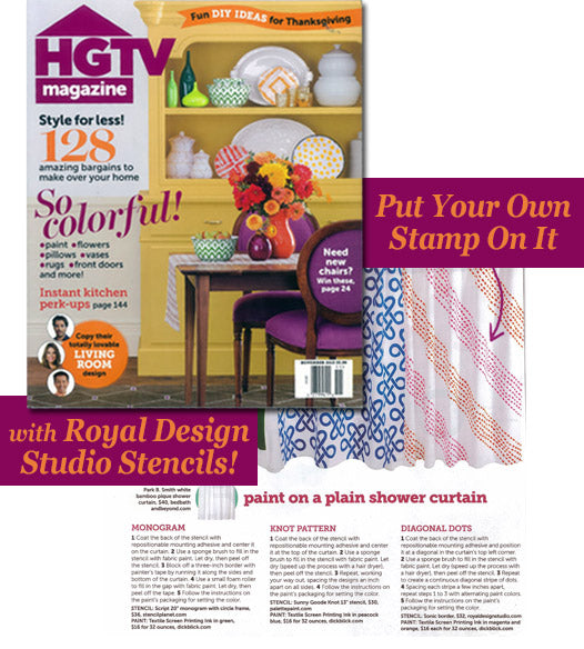 HGTV Magazine's DIY Stencil Ideas for Customizing Basics Items at Home to Reflect Your Personal Style! | Royal Design Studio