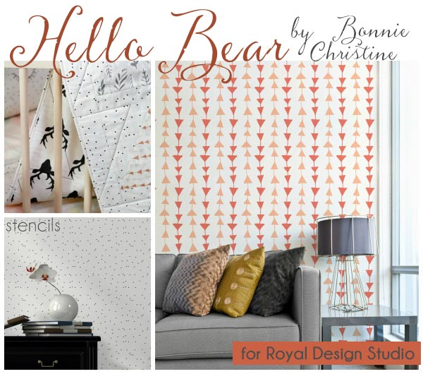Designer Wall Stencils, removable wallpaper, and wall decals by Bonnie Christine (going home to roost) for Royal Design Studio and Wallternatives - Forest animals, modern shapes, rustic deer antlers and bears for cute kids room and nursery decor