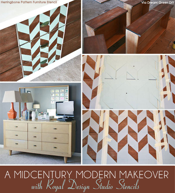 Modern Herringbone stencil from Royal Design Studio is perfect choice for a Mid Century stenciled furniture project